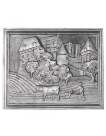 Plaque de cheminée Château et Laboureur