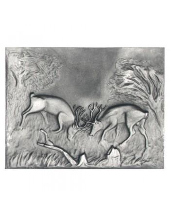 Plaque de cheminée Combat de Cerfs